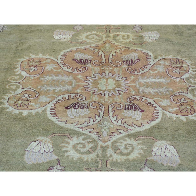 Hand-Knotted Antique Agra Mint Condition Full Pile Medallion Design Rug For Sale