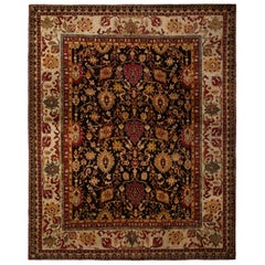 Antique Agra Red and Gold Wool Rug