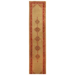 Antique Agra Red and Tan Geometric-Floral Wool Runner