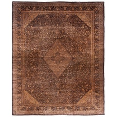 Antique Agra Transitional Black and Copper Beige Wool Floral Rug