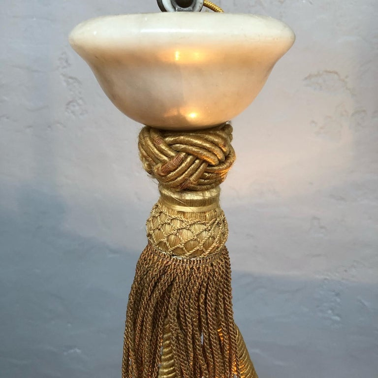 Early 20th Century Antique Alabaster Plafonnier Chandelier For Sale