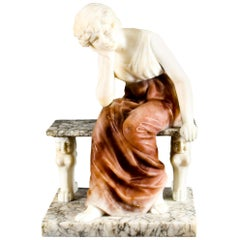 Antique Alabaster Sculpture Wistfulness Young Lady on a Bench, Late 19th Century