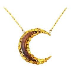 Antique Alaskan 14k Yellow Gold Horn Medham Crescent Necklace