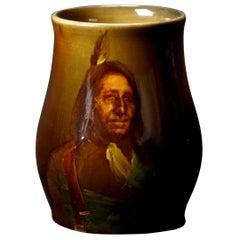 Antique Albert Valentien for Rookwood Art Pottery American Indian Portrait Mug