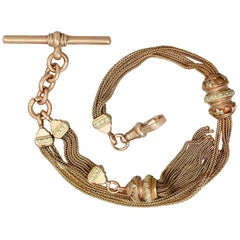 Antique Albertina Watch Chain in Yellow and Rose Gold, 1910