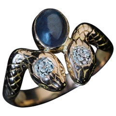 Antique Alexandrite Diamond Gold Snake Ring
