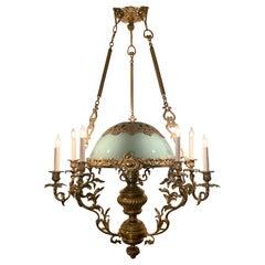 Antique All Original 19th Century Brass Suspension Oil Lantern, circa 1910