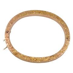 Antique All-Over Engraved Bangle Bracelet
