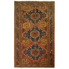 Antique All-Over Orange Beige Geometric Blue Wool Soumak Russian Rug