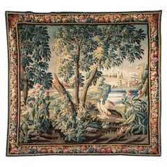 Antique Allegorical Tapestry with Country Forest Landscape and Mourning Bird