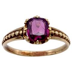 Antique Almandin Garnet Cushion Cut Intensive Dark Pink Violet 14 Karat Ring