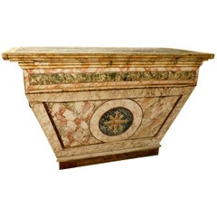 Antique altar in faux marble lacquered wood, from Italian chapel of '700