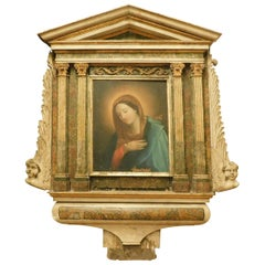 Antique Altarpiece Depicting Madonna, Painted Wood and Canvas, 18th Century