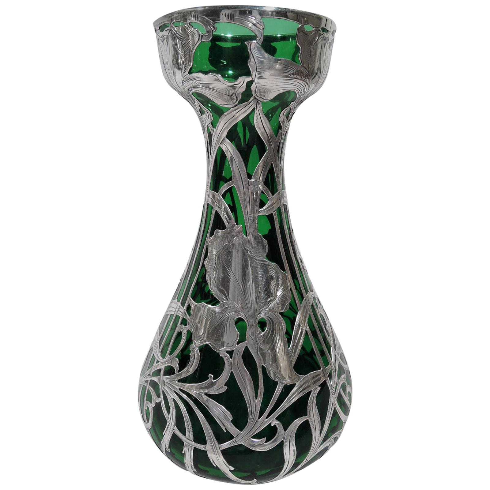 Antique Alvin Art Nouveau Green Silver Overlay Vase
