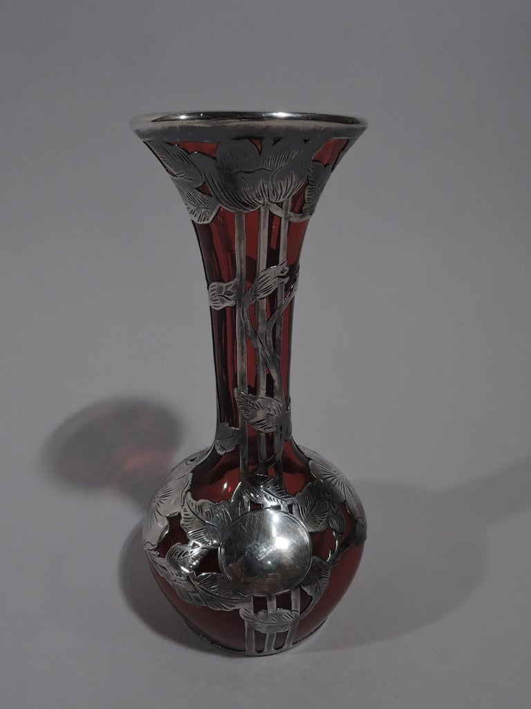 North American Antique Alvin Art Nouveau Red Glass Bud Vase with Silver Overlay For Sale