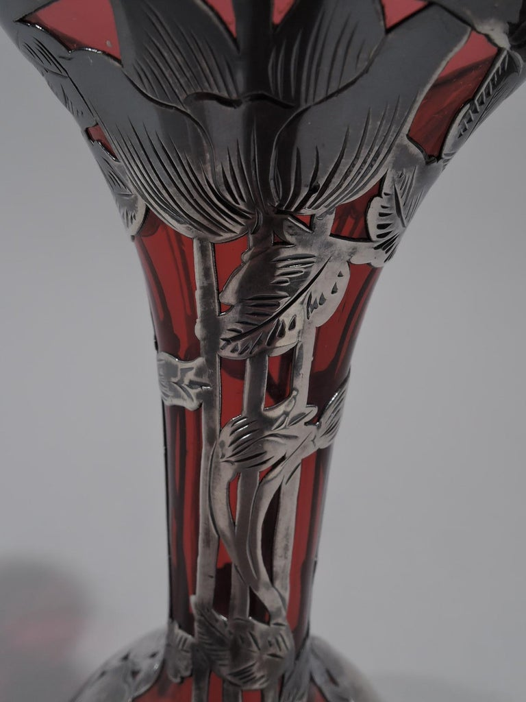 20th Century Antique Alvin Art Nouveau Red Glass Bud Vase with Silver Overlay For Sale