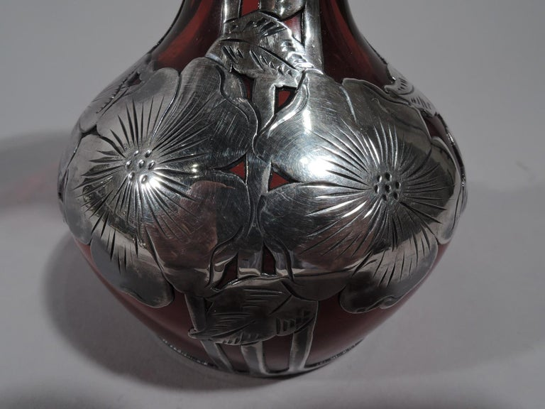 Antique Alvin Art Nouveau Red Glass Bud Vase with Silver Overlay For Sale 1