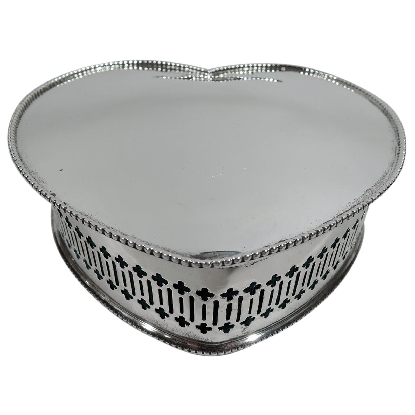 Antique Alvin Edwardian Sterling Silver Heart-Shaped Jewelry Box