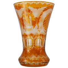 Antique Amber Bohemian Cut Crystal Flared Vase