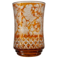 Antique Amber Bohemian Cut Crystal Vase