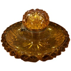 Antique Amber Colored Cut Glass English Inkwell