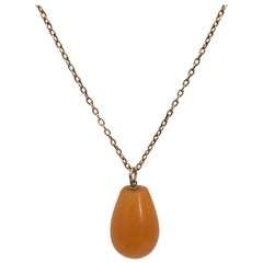 Antique Amber Drop Pendant Rose Gold Chain Charm Necklace Vintage Jewelry