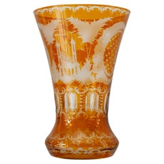 Antique Amber Orange Bohemian Cut Crystal Flared Vase