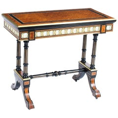 Antique Amboyna Card Table with Porcelain Plaques, 19th Century
