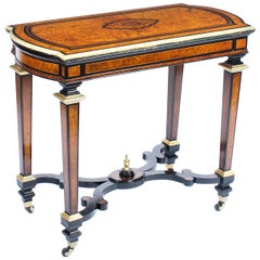 Antique Amboyna and Ebonized Card Table, 19th Century