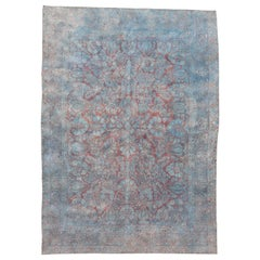 Antique America Sarouk Carpet, Pink Red and Blue Accents