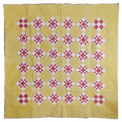 "Antique American 1880's ""Lone Star"" Yellow Handmade Patchwork Quilt"