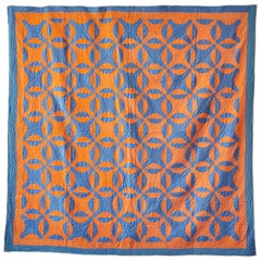 "Antique American 1890s ""Nine Patch"" Patchwork Quilt in Orange and Blue Patterns"