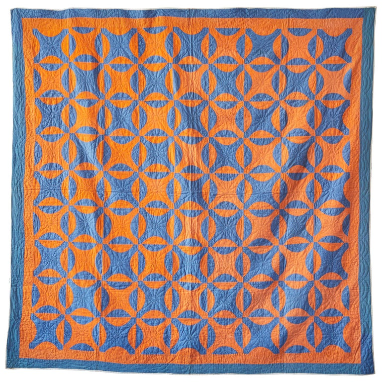 "Antique American 1890s ""Nine Patch"" Patchwork Quilt in Orange and Blue Patterns For Sale"