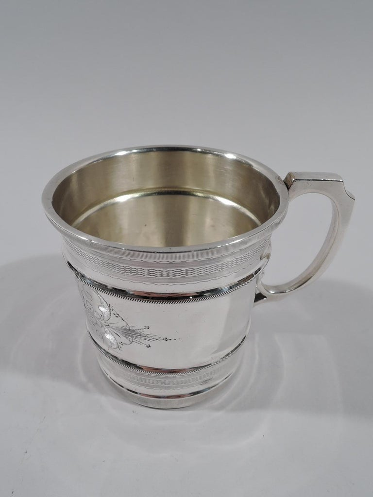Aesthetic Movement Antique American Aesthetic Coin Silver Baby Cup by Chicago Maker For Sale