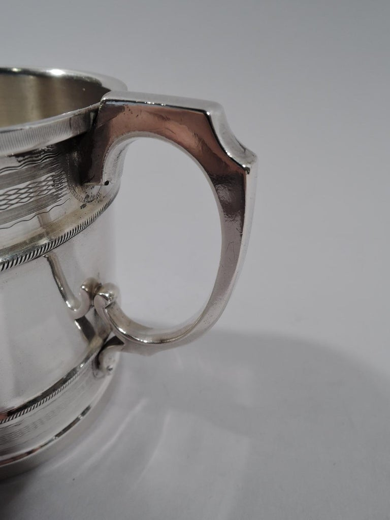 19th Century Antique American Aesthetic Coin Silver Baby Cup by Chicago Maker For Sale