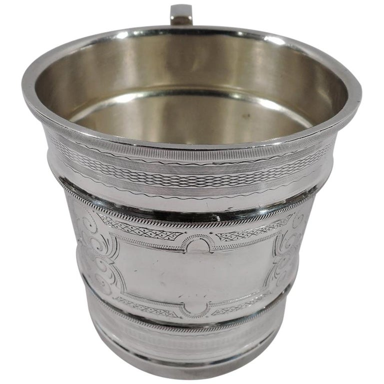 Antique American Aesthetic Coin Silver Baby Cup by Chicago Maker For Sale