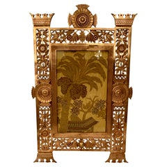 Antique American Art Deco Gold Bronze Hanging Picture Frame, Circa 1920-1930