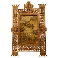 Antique American Art Deco Gold Bronze Standing Picture Frame, Circa 1930's