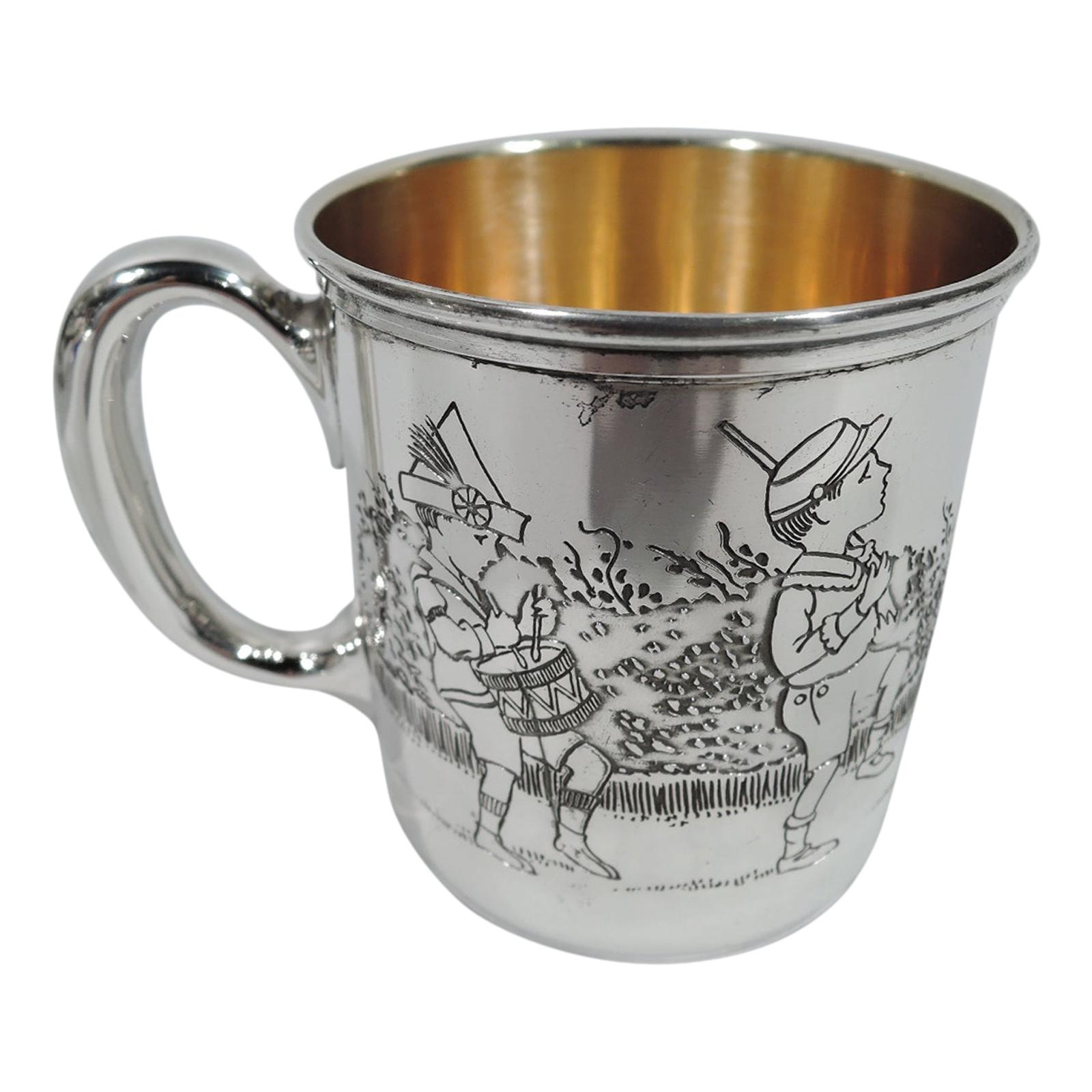 Antique American Art Deco Sterling Silver Children's Parade Baby Cup