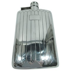 Antique American Art Deco Sterling Silver Flask by Meriden Britannia