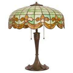 Antique American Art Nouveau Bronze & Leaded Glass Table Lamp by Wilkinson, 1910