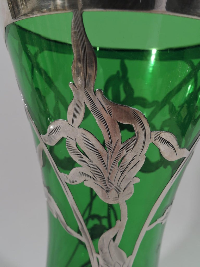20th Century Antique American Art Nouveau Green Glass Silver Overlay Vase For Sale