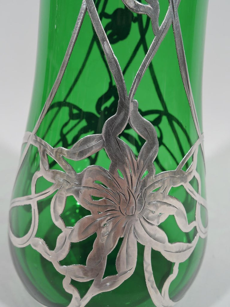 Antique American Art Nouveau Green Glass Silver Overlay Vase For Sale 1
