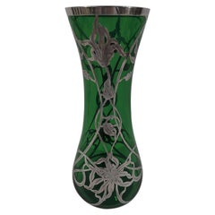 Antique American Art Nouveau Green Glass Silver Overlay Vase