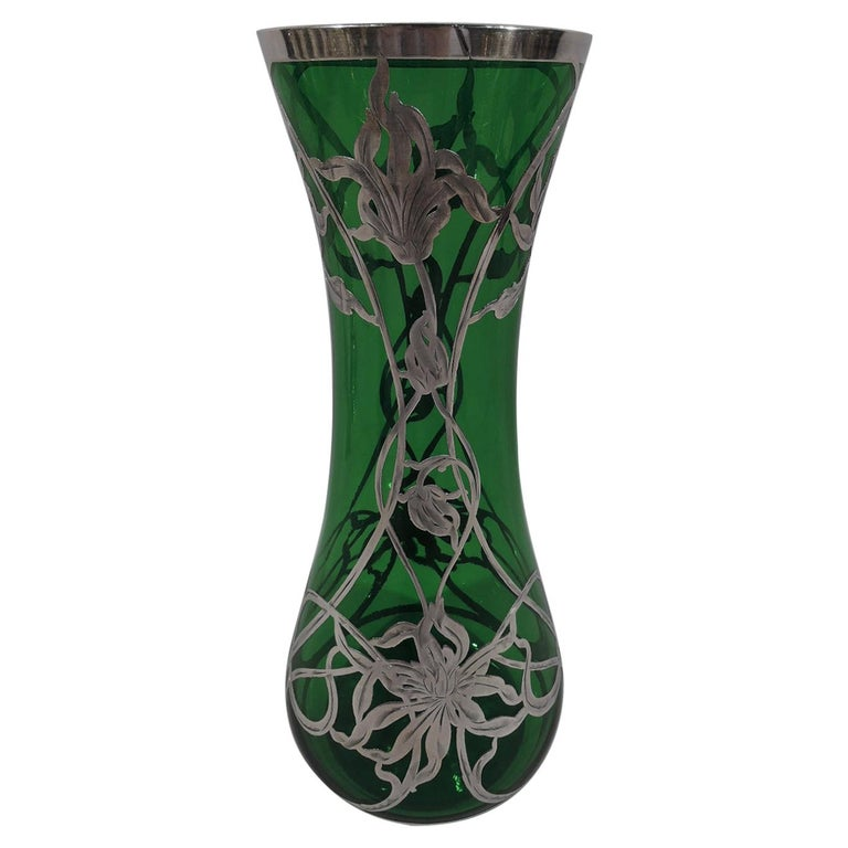 Antique American Art Nouveau Green Glass Silver Overlay Vase For Sale
