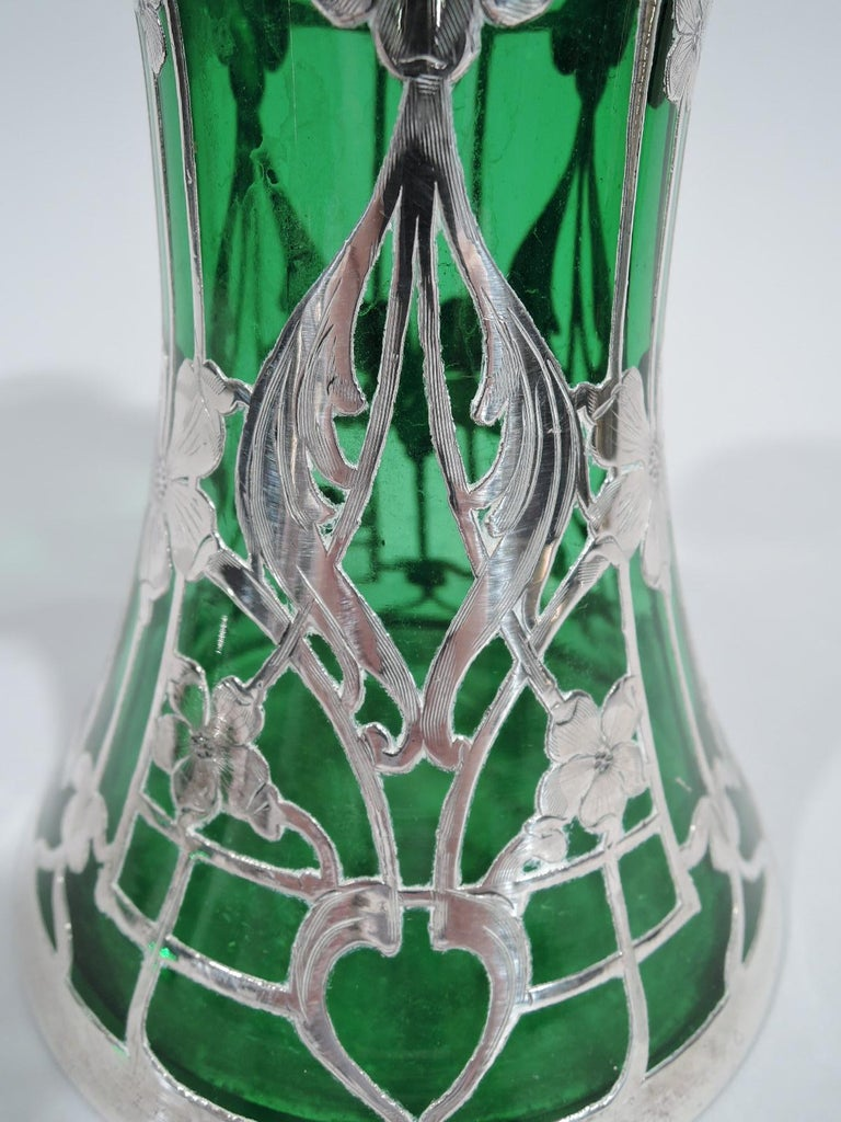 Antique American Art Nouveau Green Silver Overlay Decanter For Sale 2