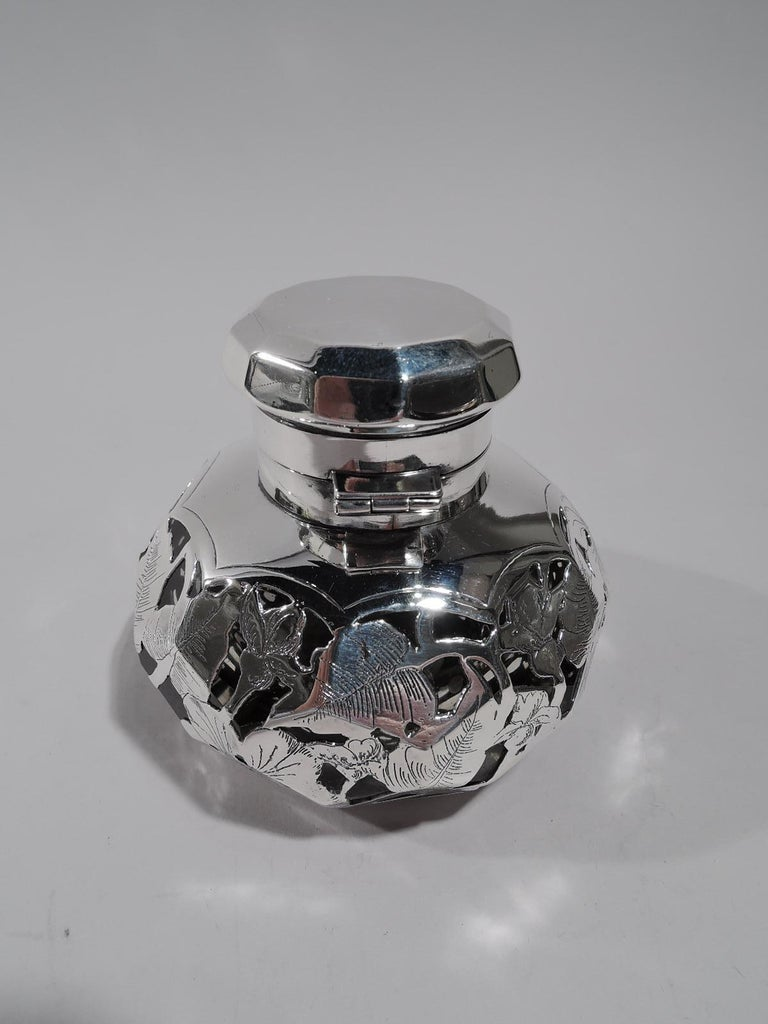 Antique American Art Nouveau Purple Silver Overlay Inkwell In Excellent Condition For Sale In New York, NY