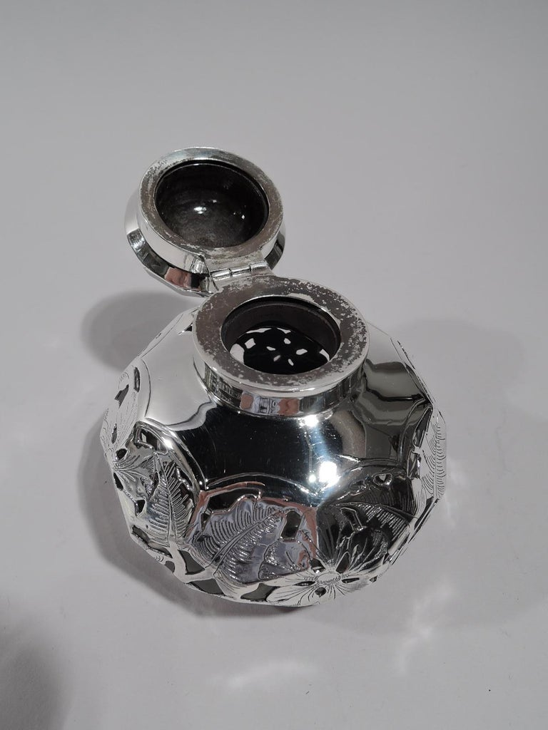 19th Century Antique American Art Nouveau Purple Silver Overlay Inkwell For Sale