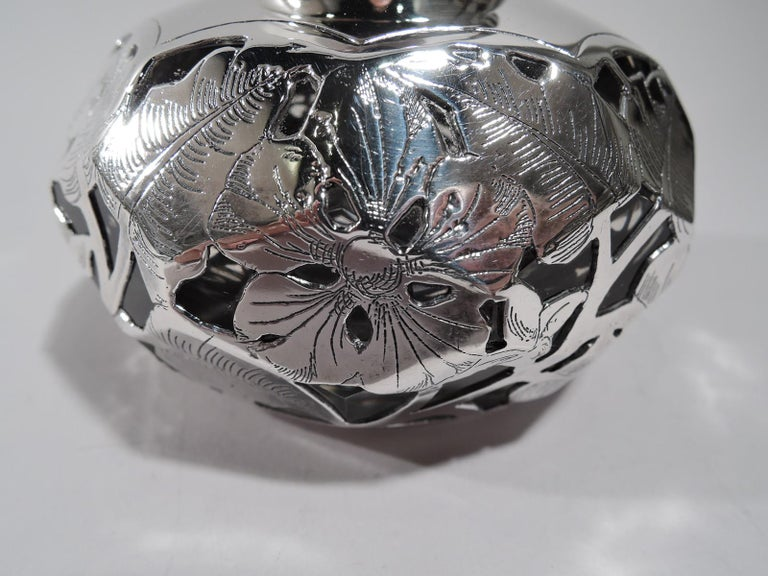 Antique American Art Nouveau Purple Silver Overlay Inkwell For Sale 1
