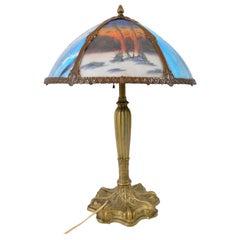 Antique American Art Nouveau Reverse Painted Landscape Table Lamp, circa 1910
